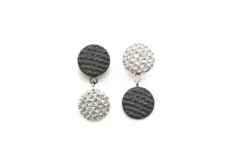 Silver,&,Black,Two,Tone,Crochet,Drops,Drop earrings, handmade earrings, silver and black earrings, textured earrings, handmade jewellery, women's jewellery, designer earrings, two tone earrings