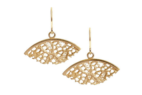 Gold,Lace,Fan,Shaped,Earrings,gold plated earrings, 18ct gold plated earrings, gold earrings, gold drop earrings, lacey earrings, lace earrings, stylish earrings, handmade earrings