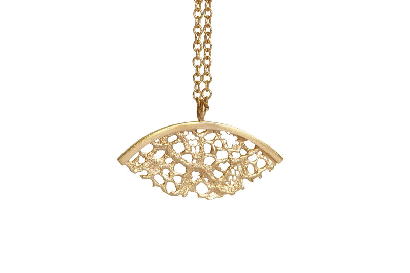 Gold Lace Fan Shaped Necklace - product images  of