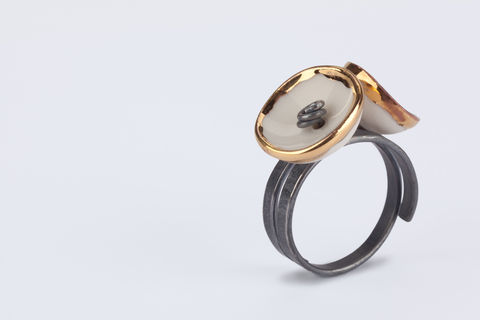 Dome,Ring,ring, porcelain ring, silver ring, oxidised ring, ceramic ring, dome ring, handmade jewellery, gold jewellery
