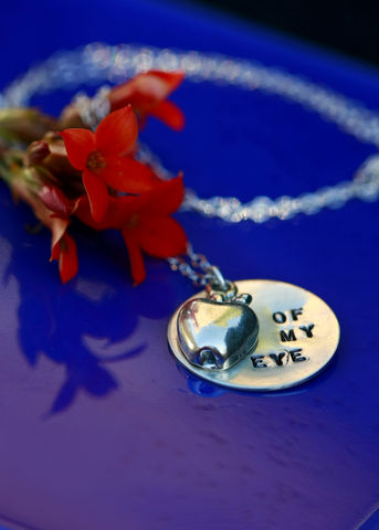 Apple,of,my,Eye,hand,stamped,necklace,grandchild, duaghter, niece,daughter, artisan, hand stamped, personalized, sterling silver