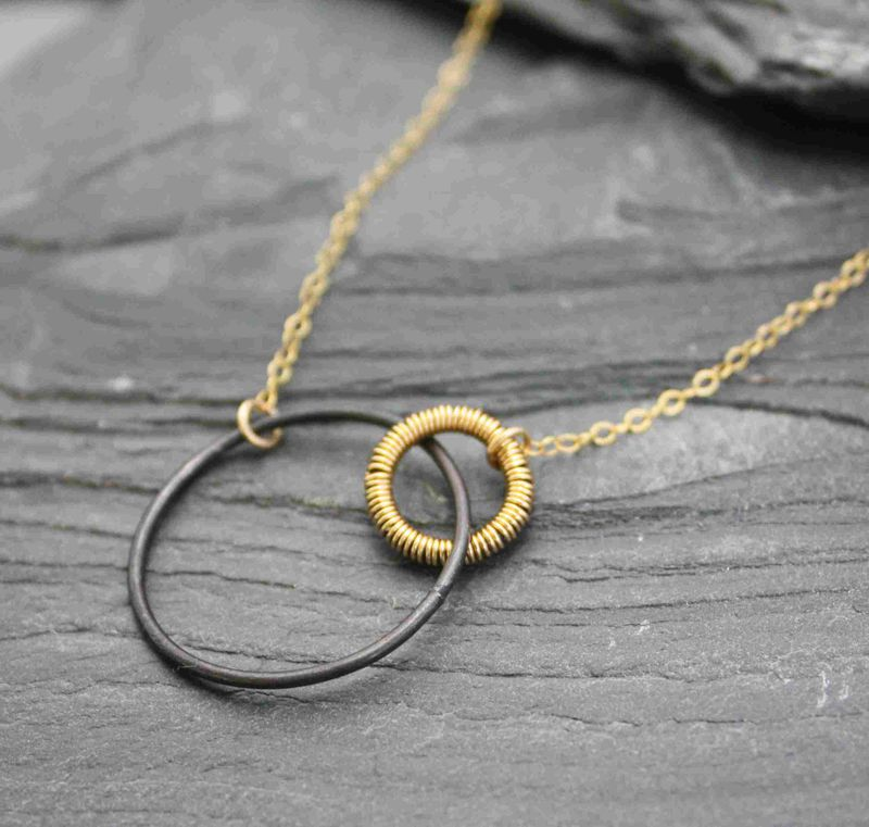 Dark moon oxidized sterling silver necklace with 14k gold filled wire - product images  of