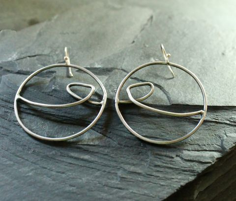 Tidal,hoops,earrings, hoops, sterling, villain accessories,ocean, wave, bold, funky, bohemian