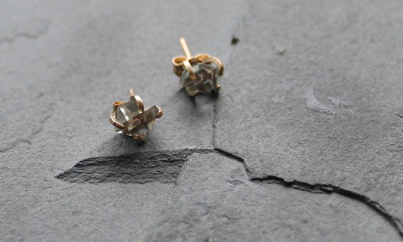 Herkimer diamond earrings in gold - product images  of