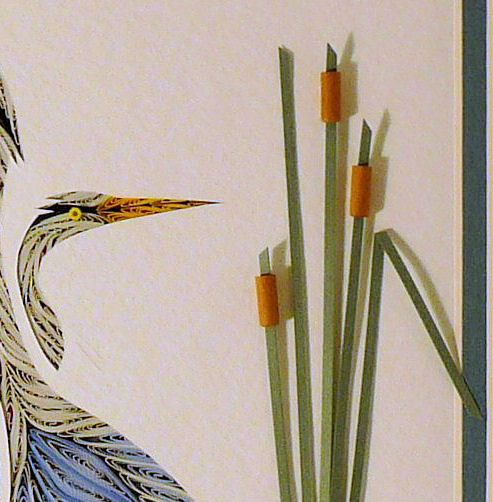 Quilled Double Heron wall art handmade - product image