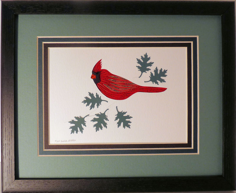 Quilled Cardinal wall art handmade - product image