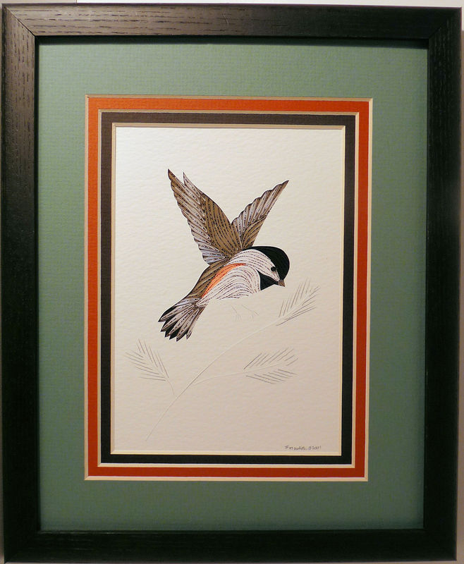 Quilled Chickadee In Flight Wall Art Handmade Quilling