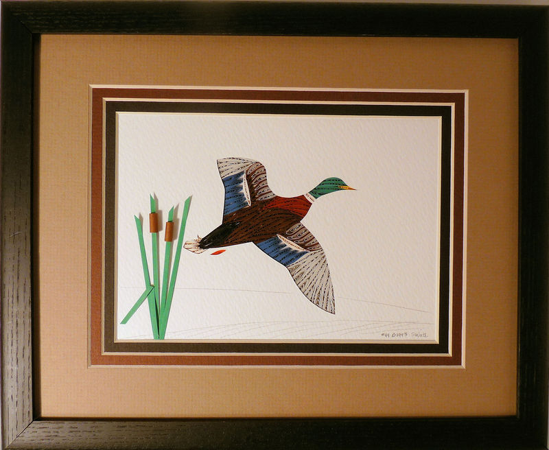 Quilled Mallard in Flight wall art handmade - product image