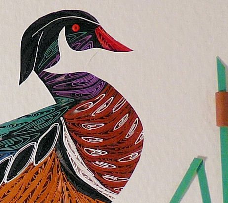 Quilled Wood Duck Standing Wall Art Handmade Quilling By