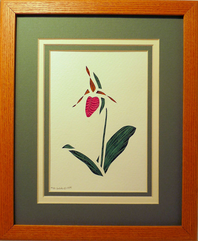 Quilled Pink Lady's Slipper wall art handmade - product image