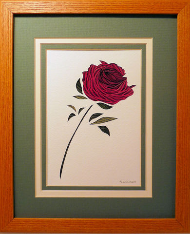 Quilled,Rose,wall,art,handmade,Quilling,rolled paper,rose,wildflowers,wall art,Quilling by Sandra White