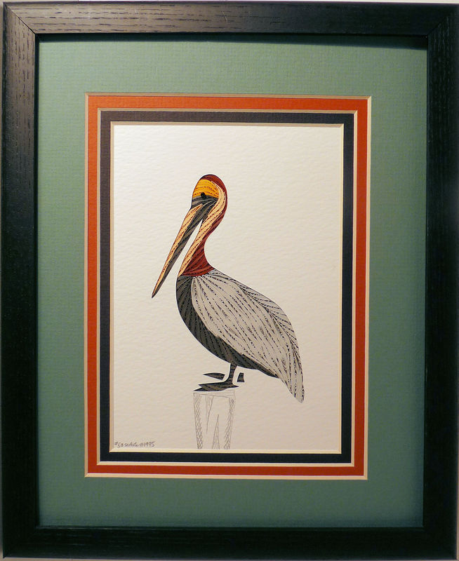 Quilled Pelican wall art handmade - Quilling by Sandra White\'s Boutique