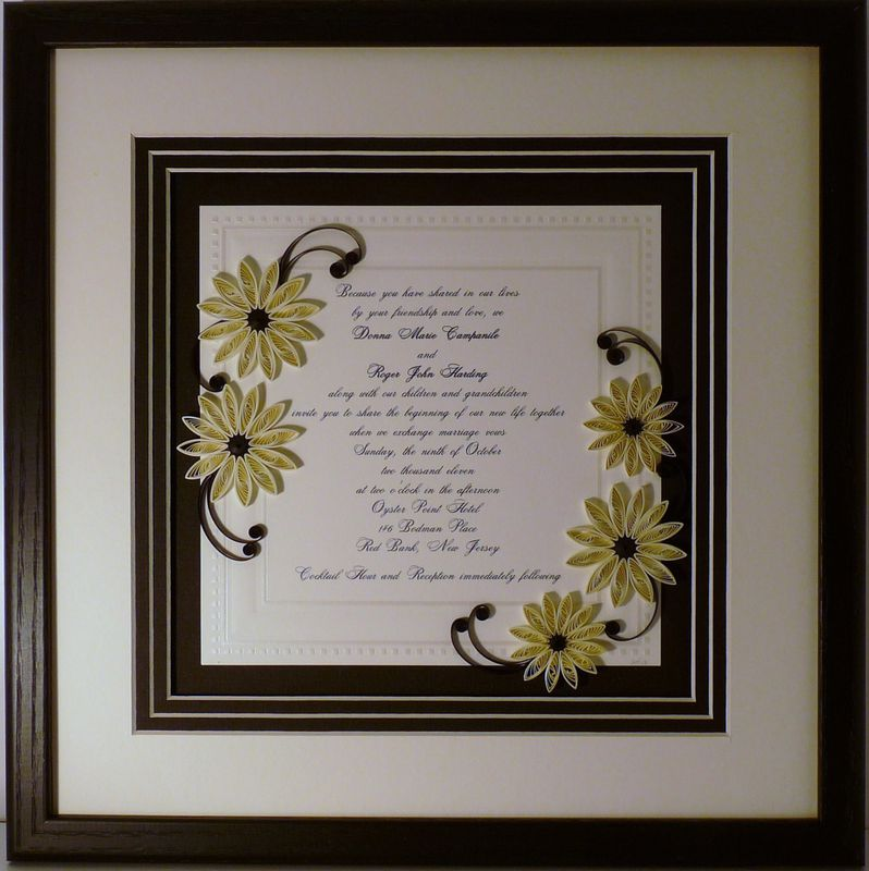 Quilled Wedding Invitation Keepsake Custom -- Wood Frame - Quilling ...