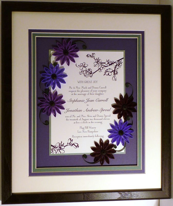 Quilled Wedding Invitation Keepsake Custom -- Wood Frame - product image