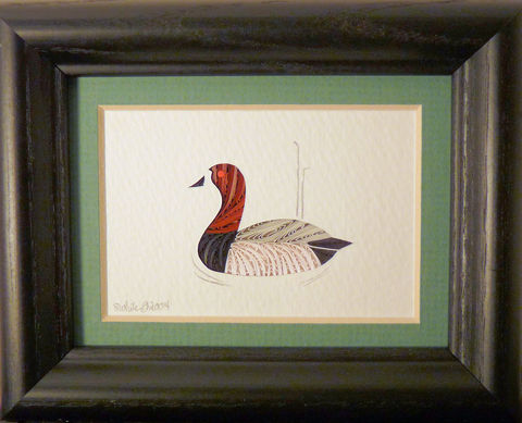 Quilled,Little,One,Canvasback,Duck,Bookcase,Art,quilling,quilled,wildlife,duck,canvasback duck,wall art,bookcase art,framed