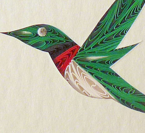 Quilled,Little,One,Hummingbird,Bookcase,Art,quilling,quilled,wildlife,bird,hummingbird,wall art,bookcase art,framed