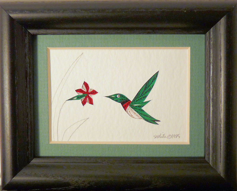 Quilled Little One Hummingbird Bookcase Art - product image
