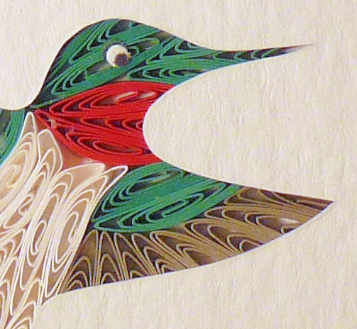 Quilled Little One Hummingbird in Flight Bookcase Art - product image