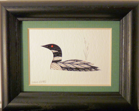 Quilled,Little,One,Loon,Bookcase,Art,quilling,quilled,wildlife,loon,wall art,bookcase art,framed