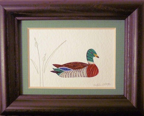 Quilled,Little,One,Mallard,Bookcase,Art,quilling,quilled,wildlife,duck,mallard,wall art,bookcase art,framed