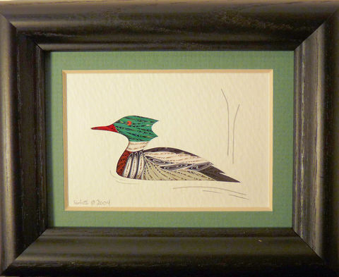 Quilled,Little,One,Merganzer,Bookcase,Art,quilling,quilled,wildlife,duck,mallard,wall art,bookcase art,framed