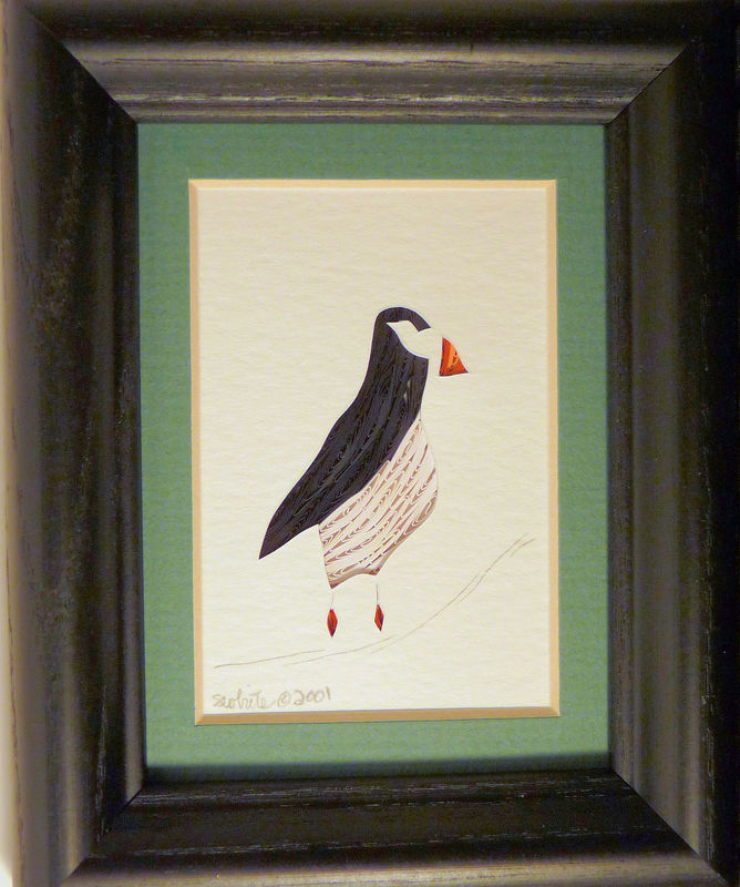 Quilled Little One Puffin Bookcase Art - product image