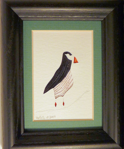 Quilled,Little,One,Puffin,Bookcase,Art,quilling,quilled,wildlife,duck,bird,puffin,wall art,bookcase art,framed