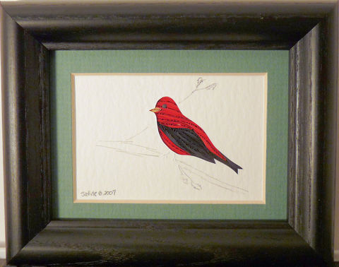 Quilled,Little,One,Scarlet,Tanager,Bookcase,Art,quilling,quilled,wildlife,bird,scarlet tanager,wall art,bookcase art,framed