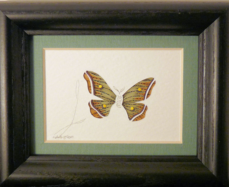 Quilled Little One Silk Moth Bookcase Art - product image