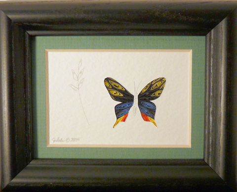 Quilled,Little,One,Swallowtail,Butterfly,Bookcase,Art,quilling,quilled,wildlife,butterfly,silk moth,wall art,bookcase art,framed