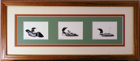 Quilled,Little,Ones,Triple,Loons,Bookcase,Art,quilling,quilled,wildlife,loon,wall art,bookcase art,framed