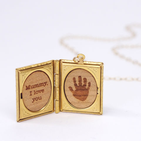 Handprint,Storybook,Locket,Necklace,Maria Allen Boutique, jewellery, handmade, handprint, locket, storybook, love, message, personalised, mothers day, mum, anniversary, gold, gifts for her, gifts for women