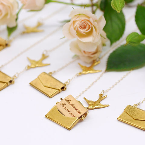 10%,OFF,|,Set,of,5,Personalised,Love,Letter,Necklaces,Bridesmaid,gifts,Maria Allen Boutique, jewellery, Love Letter Necklace, Gold, Personalised, Charm, bird, swallow, wood, handmade, gifts for her, gifts for women, gifts for bridesmaids