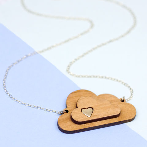 Wooden,Cloud,Necklace,Maria Allen Boutique, jewellery, handmade jewellery, wooden jewellery, wooden necklace, cloud necklace, accessories, personalised gifts, gifts for her, gifts for women, jewellery for women, valentines day gifts, christmas gifts, wedding gifts, anniversary