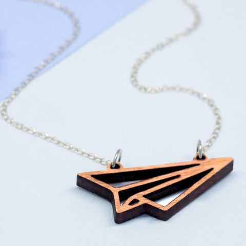 Wooden,Paper,Plane,Necklace,Maria Allen Boutique, jewellery, accessories, wooden jewellery, handmade jewellery, Wooden Necklace, necklaces personalised gifts, gifts for her, gifts for women, origami, paper plane, aeroplane, wood, plane