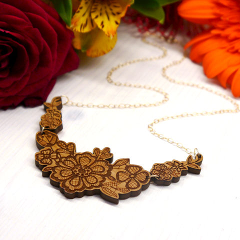 Wooden,Floral,Lace,Statement,Necklace,Wooden Laser Cut necklace, Wooden Laser Cut Jewellery, Wooden Jewellery, Statement Necklace, Maria Allen Boutique, Maria Allen Jewellery, Unique Jewellery and gifts