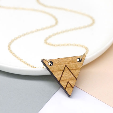 Wooden,Triangle,Necklace,triangle necklace, lily pebbles necklace, wooden triangle, wooden necklace, geo necklace