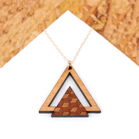 Wooden,Geometric,Triangle,Necklace,Maria Allen Boutique, jewellery, wooden jewellery, wooden necklace, laser cut jewellery, geometric triangle necklace, wooden patterned necklace, gifts for her, gifts for women