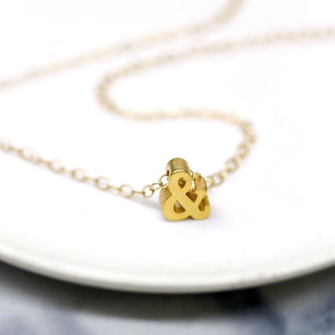 Mini,Gold,Ampersand,Charm,Necklace,Maria Allen Boutique, jewellery, Accessories, Necklace, Necklaces, Ampersand, Charm, Gold necklace, Gifts for her, gifts for women