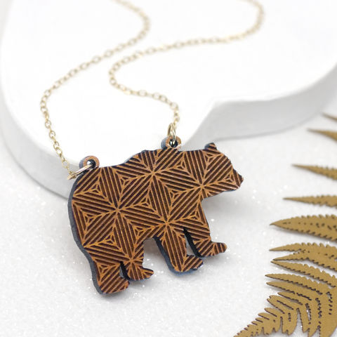 Wooden,Geometric,Bear,Necklace,Maria Allen Boutique, Jewellery, geometric, bear, animal, wildlife, forest, patterned, necklace, pendant, jewellery, gift, women, style, modern, gifts for her, gifts for women