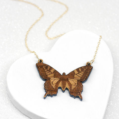 Wooden,Butterfly,Necklace,Maria Allen Boutique, jewellery, necklace,wooden, wood, cherry wood, gold, chain, butterfly, vintage, etched, engraved, gifts for her, gifts for women