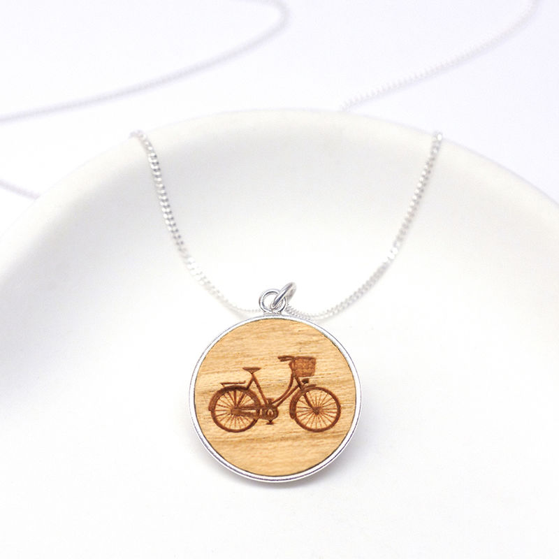 Wooden Bicycle Disc Necklace - product images  of