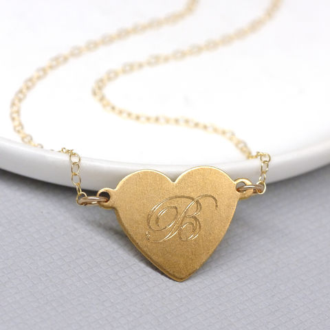 Personalised,Gold,Heart,And,Initial,Necklace,personalised heart necklace, engraved heart jewellery, heart jewelry, valentines gift for her, heart and initial necklace, gold heart necklace,