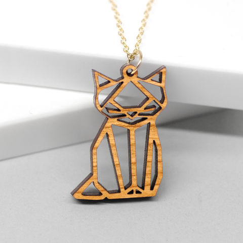 Wooden,Origami,Cat,Necklace,origami, geometric, cat necklace, mad cat jewellery, geometric cat necklace, nature, wooden, laser, etched, spring, necklace, Maria Allen Boutique, Jewellery