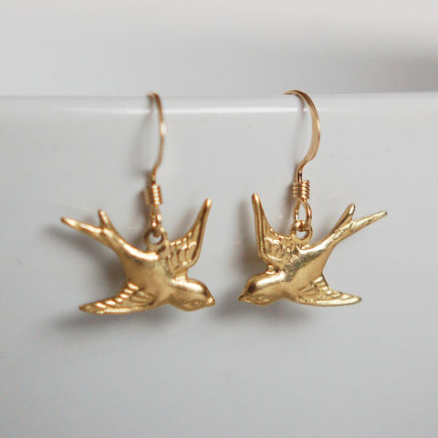 Gold,Simplicity,Bird,Earrings