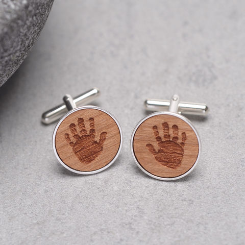 Personalised,Wooden,Handprint,Cufflinks