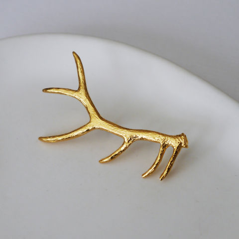 24K,Gold,Plated,Antler,Brooch,antler, brooch, pin, gift, womens, gold, deer, stag