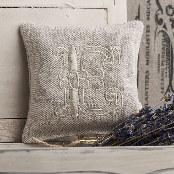 Monogrammed Linen Lavender Pillow - product images