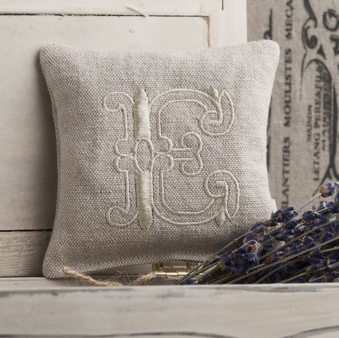 Monogrammed,Linen,Lavender,Pillow,Housewares,Embroidered,Scented,pillow,gift,linen,lavender