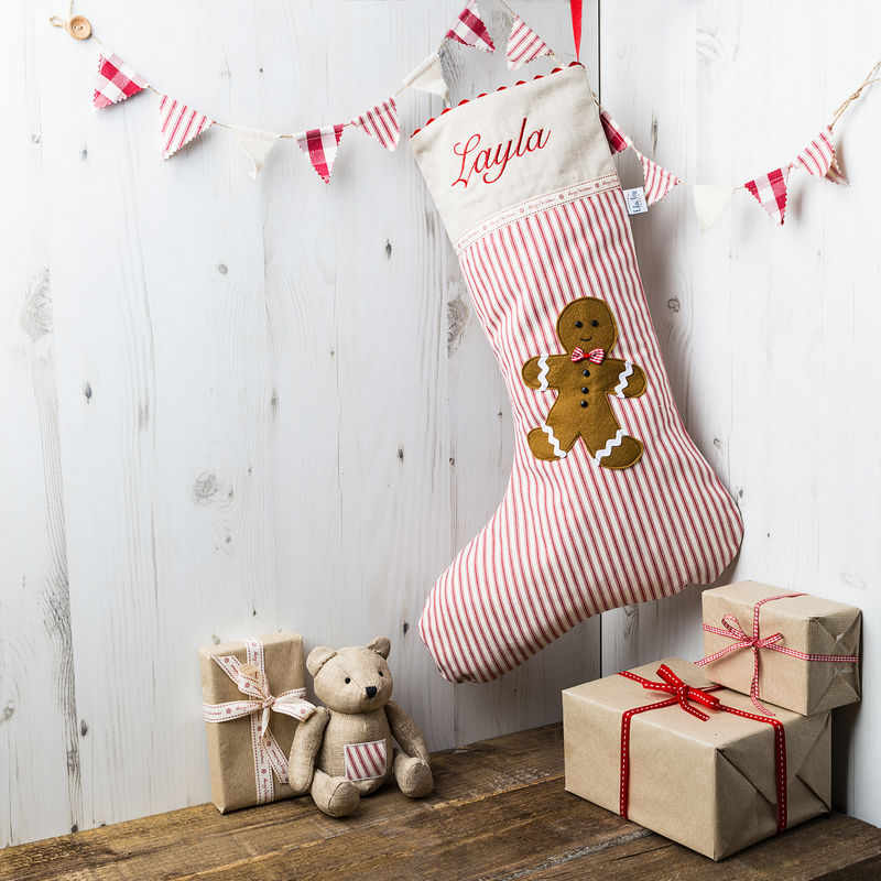 Personalised Christmas Stocking with Gingerbread Man Applique - product images  of